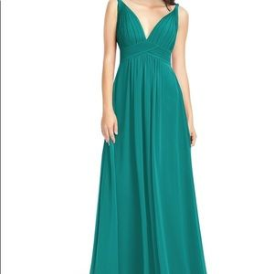 Azazie Maren Bridesmaids dress in JUNGLE GREEN 14